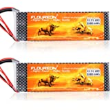 FLOUREON 2Packs 3S 11.1V 3300mAh 40C Lipo Battery Packs with T Plug for RC Helicopter RC Car RC Boat Quadcopter Remote Control Toys