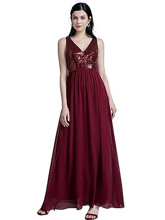 7565807d8e5d Ever-Pretty Women Fashion Sequins Chiffon Floor Length Vneck Evening Dresses  4US Burgundy