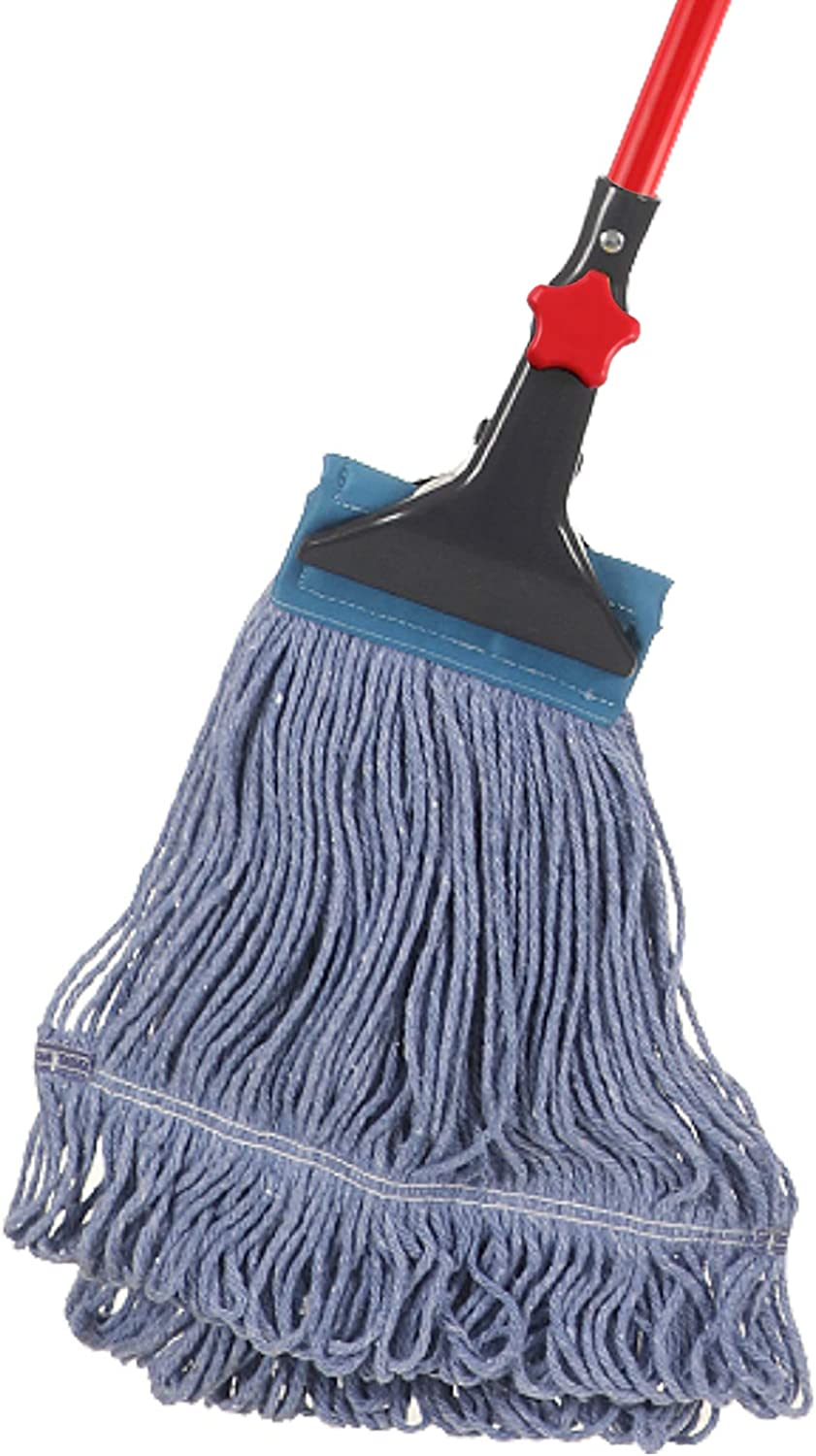 Yocada Looped-End String Wet Mop Heavy Duty Cotton Mop Commercial Industrial Grade Iron Pole Jaw Clamp Floor Cleaning 52in Long Red