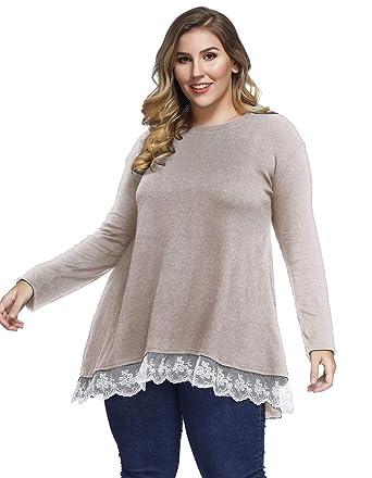 5238e5c2e65 Sanifer Women's Plus Size Lace Long Sleeve Tunic Tops T Shirts 1X Khaki