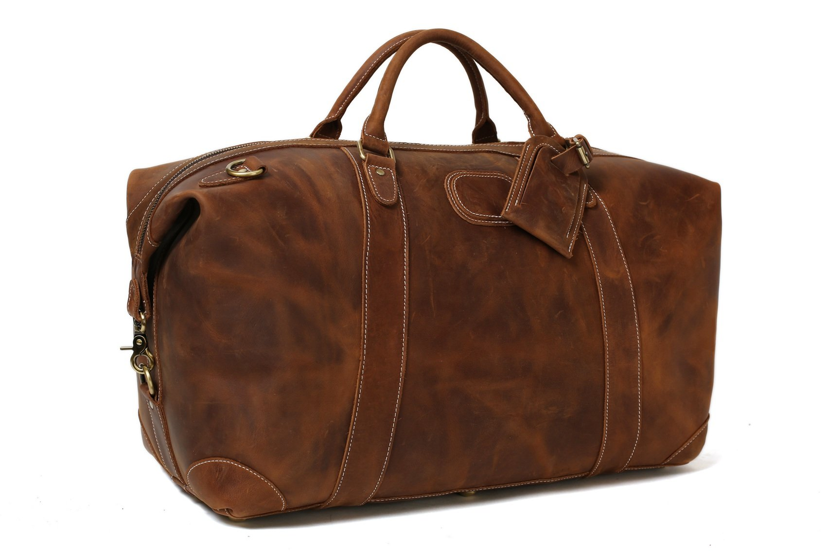 ROCKCOW Vintage Look Men's Leather Weekender Duffel Bag Luggage Holdall