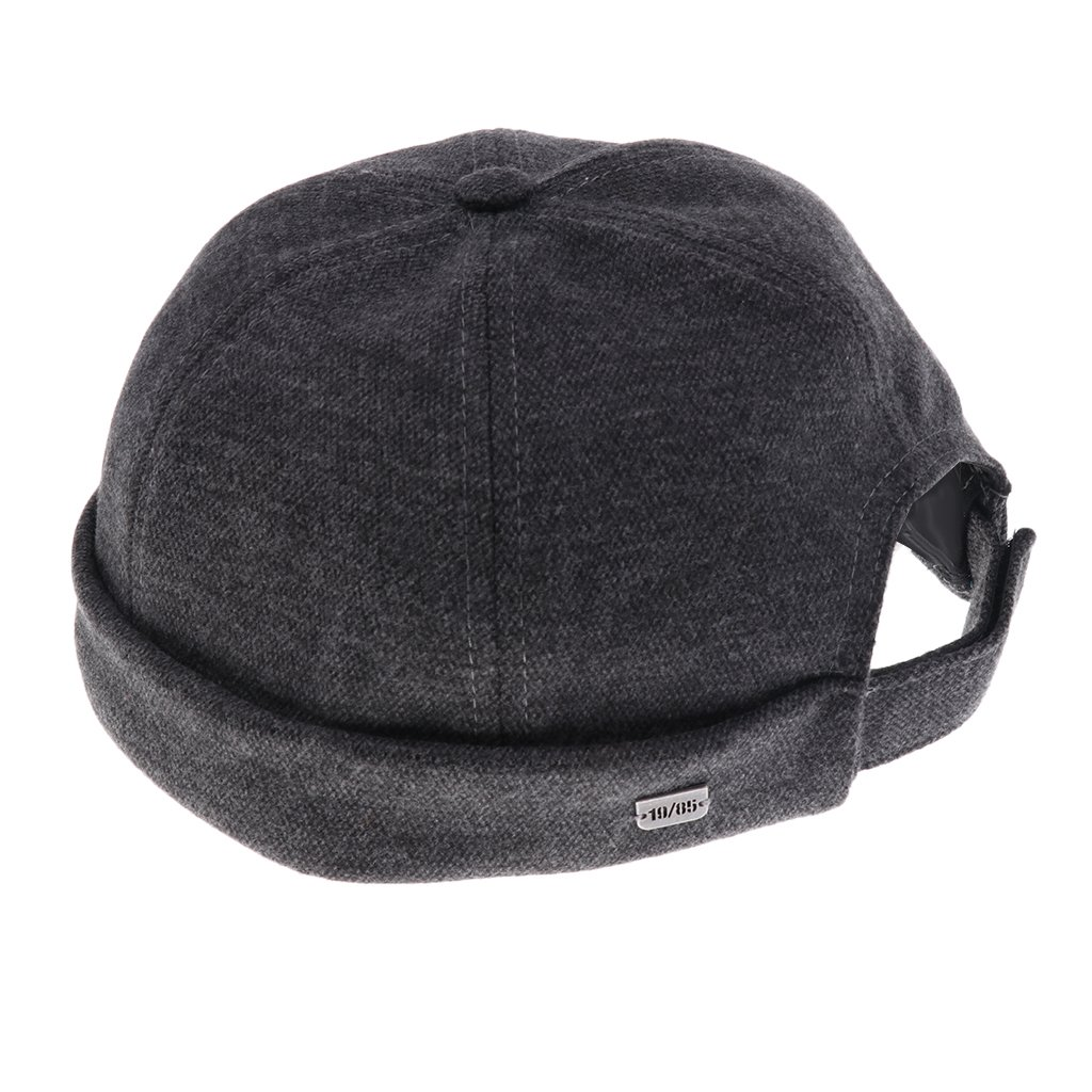 2933f6cc3a9 Prettyia Men Casual Adjust Docker Hat Sailor Cap Mechanic Biker Hat  SkullCap Beanie Brimless - Dark Gray