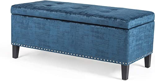 Homebeez Velvet Storage Ottoman Bench Tufted Rectangular Footstool