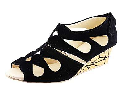 Kanchan Women s Black Wedges Sandal  Buy Online at Low Prices in ... 3dbe0b9174