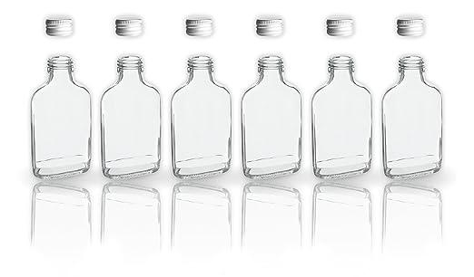 6 botellas de cristal 200 ml con tapa a rosca + 2 mini ...