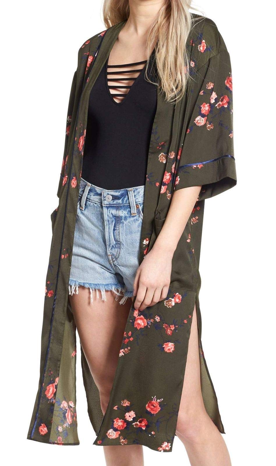 VIGOSS Pink Womens Kimono Floral Duster Slit Sweater Green XS