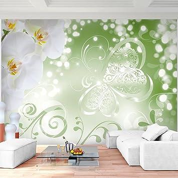 Fototapete Blumen Orchidee Grün 352 x 250 cm Vlies Wand Tapete ...