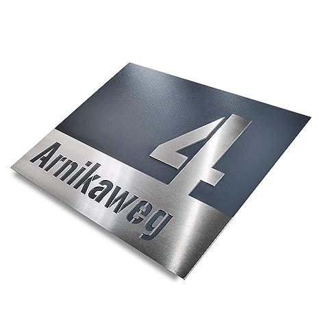 Hausnummer Edelstahl Anthrazit Straßenname Namensschild Gravur-Beschriftung