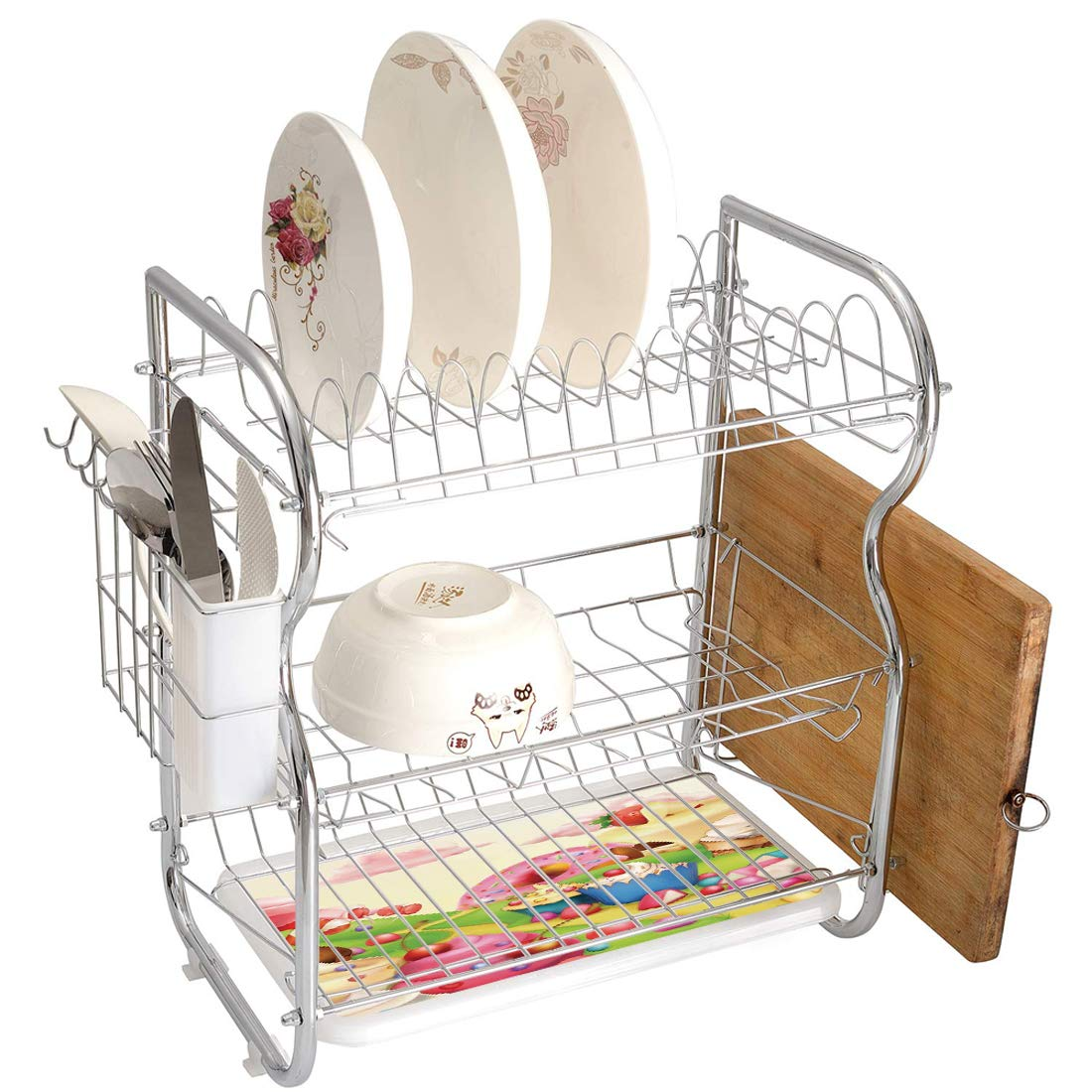 Stainless Steel 3-Tier Dish Drainer Rack Modern Kitchen Drying Drip Tray Cutlery Holder Yummy Donuts Sweet Land Cupcakes Ice Cream Cotton Candy Clouds Kids Nursery Design,Multicolor,Storage Space Save by Smallgrid