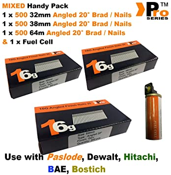 Mixed 16g ANGLED 20° Nails 2 x 500 45mm 50mm nail pack for Dewalt Paslode