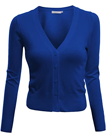 0faaa20d86 Doublju V-Neck Button Down Fine Knit Crop Cardigan (Plus size available)  BLUE