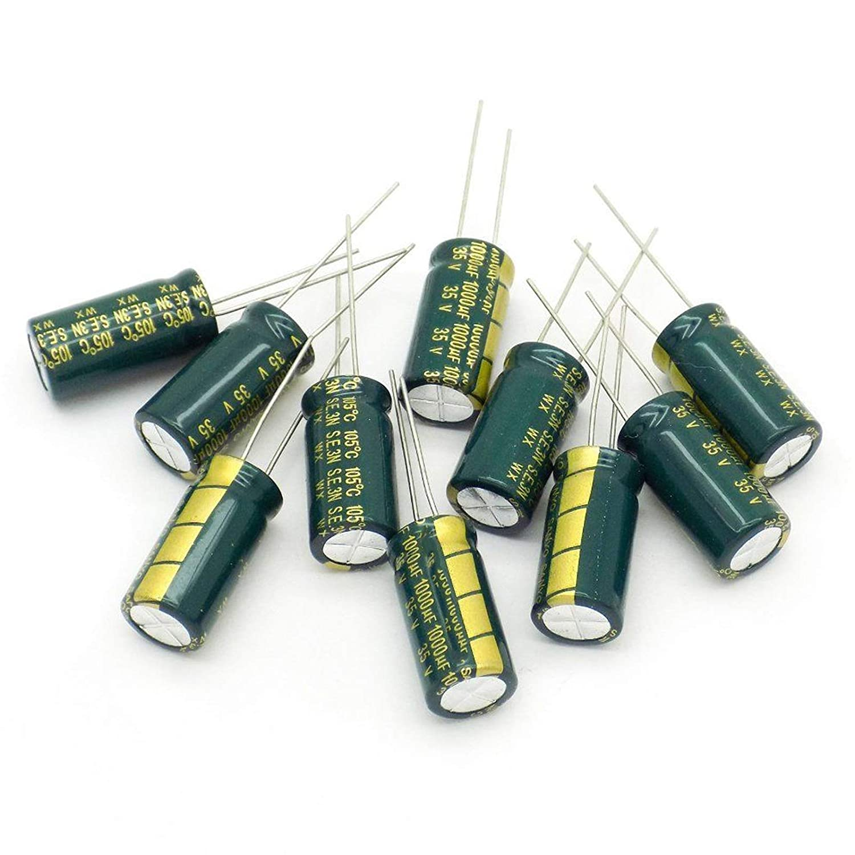 100 PCS 1000UF 1000mfd 35V Electrolytic Capacitor 105 degrees USA FREE SHIPPING