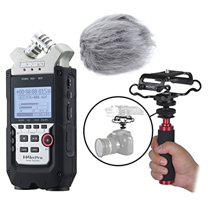 Zoom H4n Pro 4 Channel Handy Recorder Kit With Deadcat Windscreen, Shockmount, Camera Mount And Mic Grip by Movo