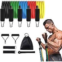 Cuxus Fitnessbanden, weerstandsbandenset, 5 weerstandsbanden, handgrepen, deuranker en voetlussen, gymnastiekband…
