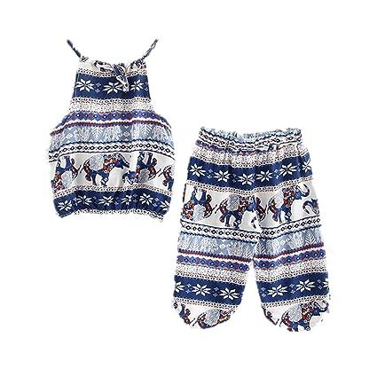 WINZIK Kids Baby Girls Outfits Boho Big Small Elephant Pattern Camisole + Pants Beachwear Clothes Set