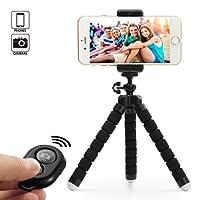 Dezuo 18cm Mini Trípode para Móvil, Smartphone, Cámara Digital, iPhone, ipad, Incluye Universal Móvil Holder y el Controlador Remoto Bluetooth