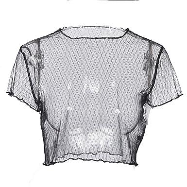official site order aliexpress Haut Shirt Short Manches Shortes Noir Lace Filet De Pêche ...