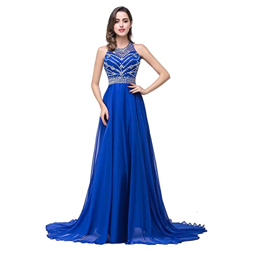 Babyonlinedress Babyonline Long Crystal Chiffon Evening Gowns Backless Bead Cocktail Party Dress