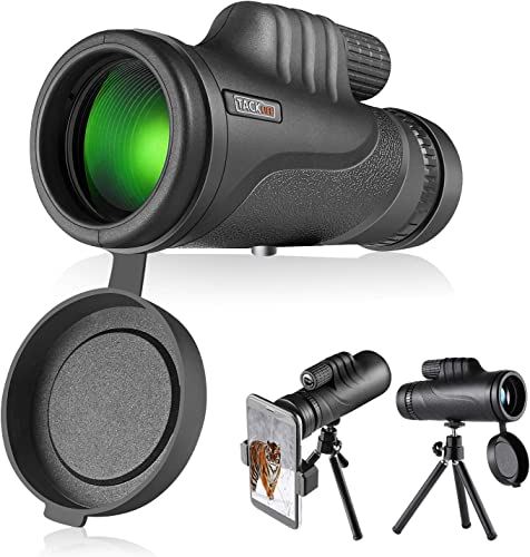 TACKLIFE Monocular Telescope, Monocular Scope with BAK4 Prism, Rotating Eye Mask, Multi-Green Coated Lens for Bird Watching, Hunting, Camping, Phone Adapter and Compact Tripod Include – MCL01