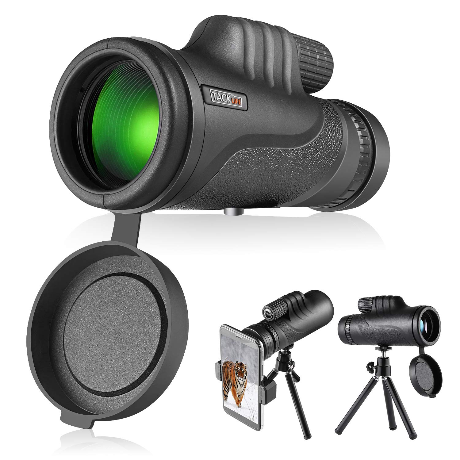 TACKLIFE Monocular Telescope, Monocular Scope with BAK4 Prism, Rotating Eye Mask, Multi-Green Coated Lens for Bird Watching, Hunting, Camping, Phone Adapter and Compact Tripod Include - MCL01 by TACKLIFE