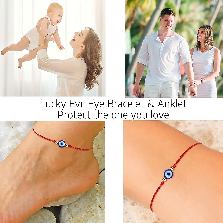 Friendship bracelet good luck Minimalist red ankle bracelet protection bad eye Zamak elastic ankle bracelet.