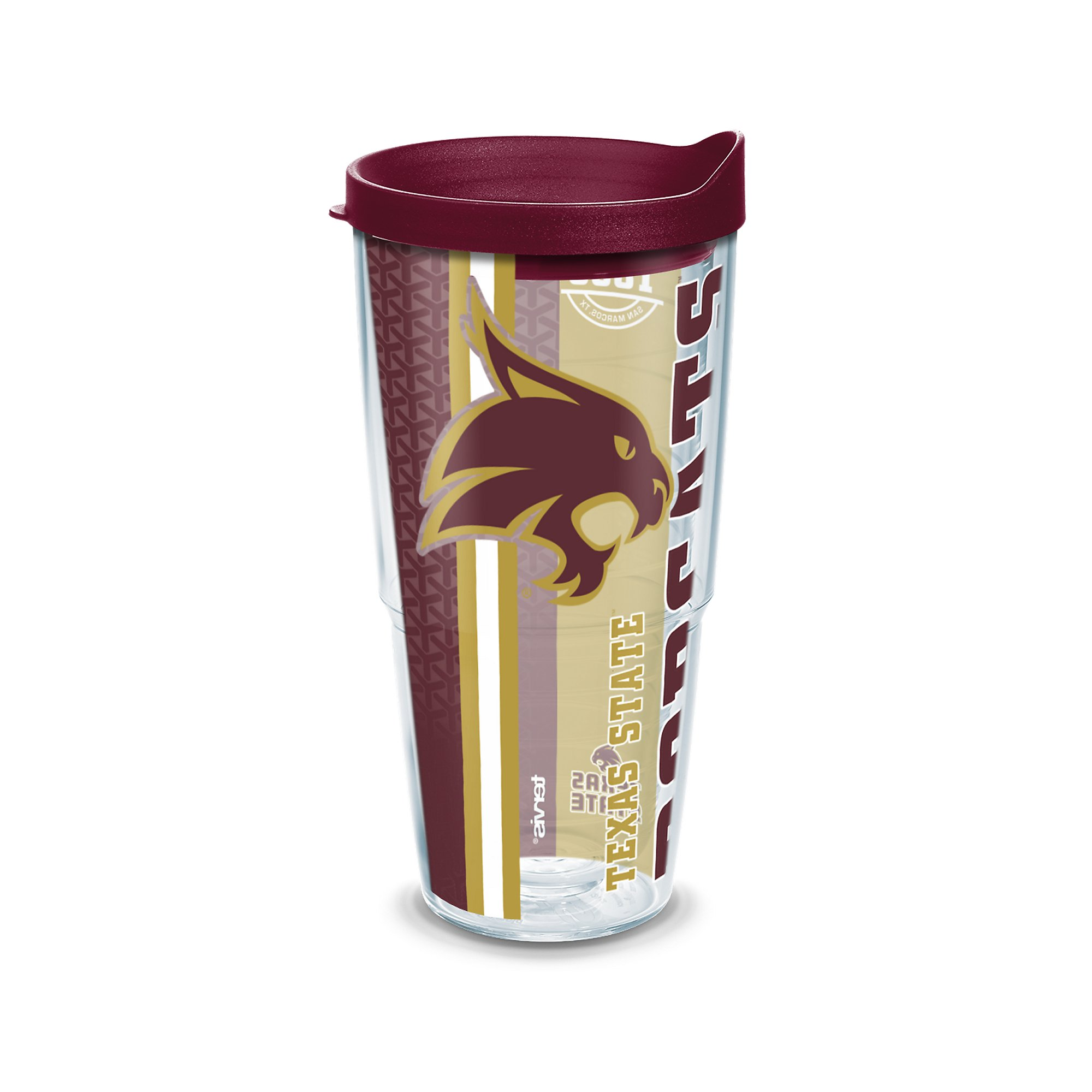 Tervis 1229729 Texas State Bobcats College Pride Tumbler with Wrap and Maroon Lid 24oz, Clear by Tervis