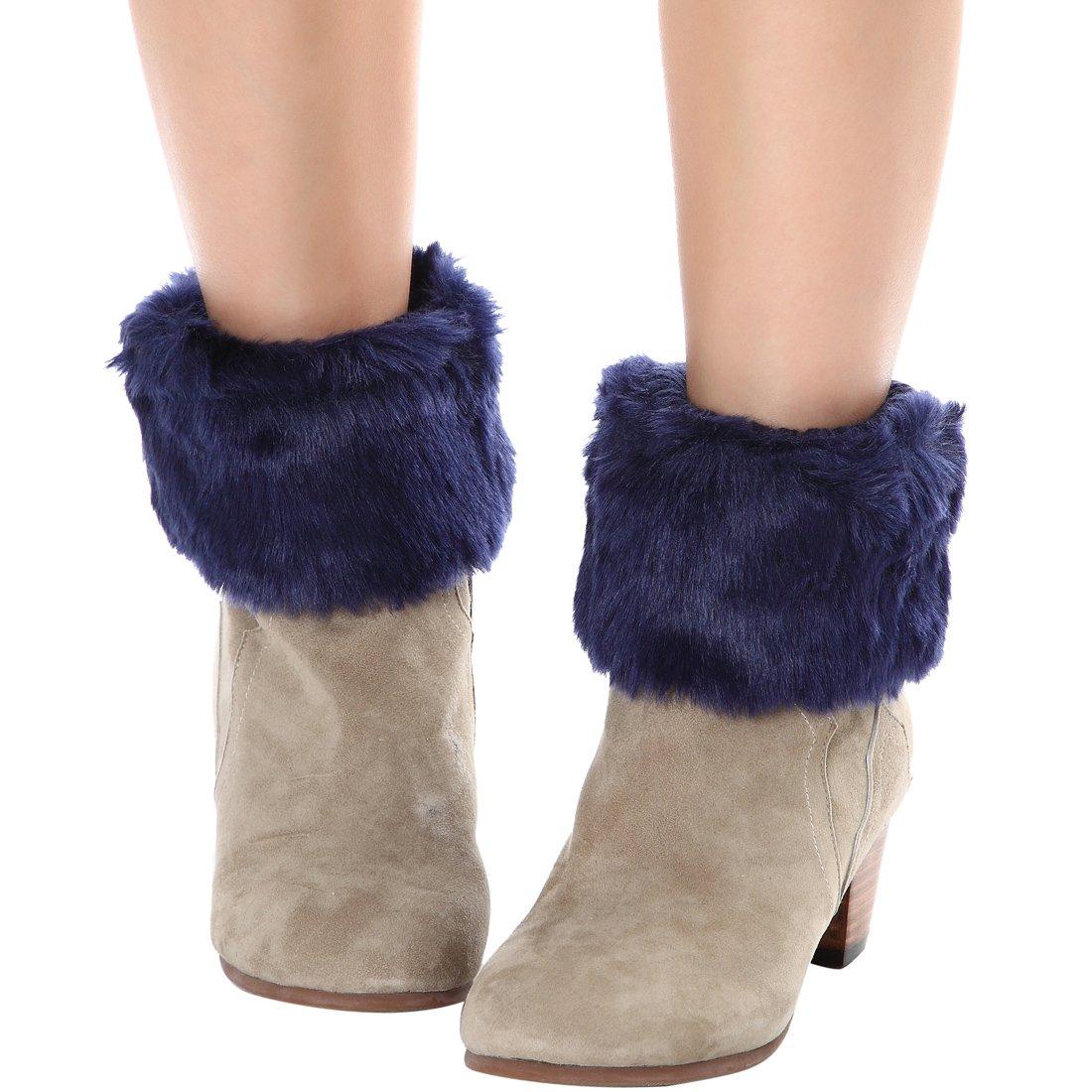FAYBOX Women Winter Faux Fur Boot Cuff Knitting Leg Warmers Short WCA10031NV