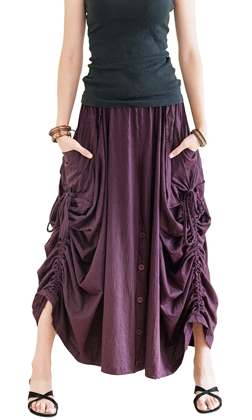 Women's Purple Cotton Jersey Versatile Maxi Convertible Skirt Pants Over-Skirt - DeluxeAdultCostumes.com