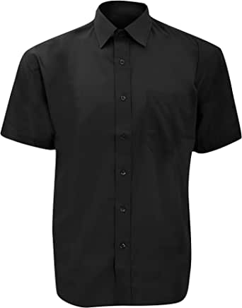 Russell Collection Mens Short Sleeve Poly-Cotton Easy Care Poplin Shirt