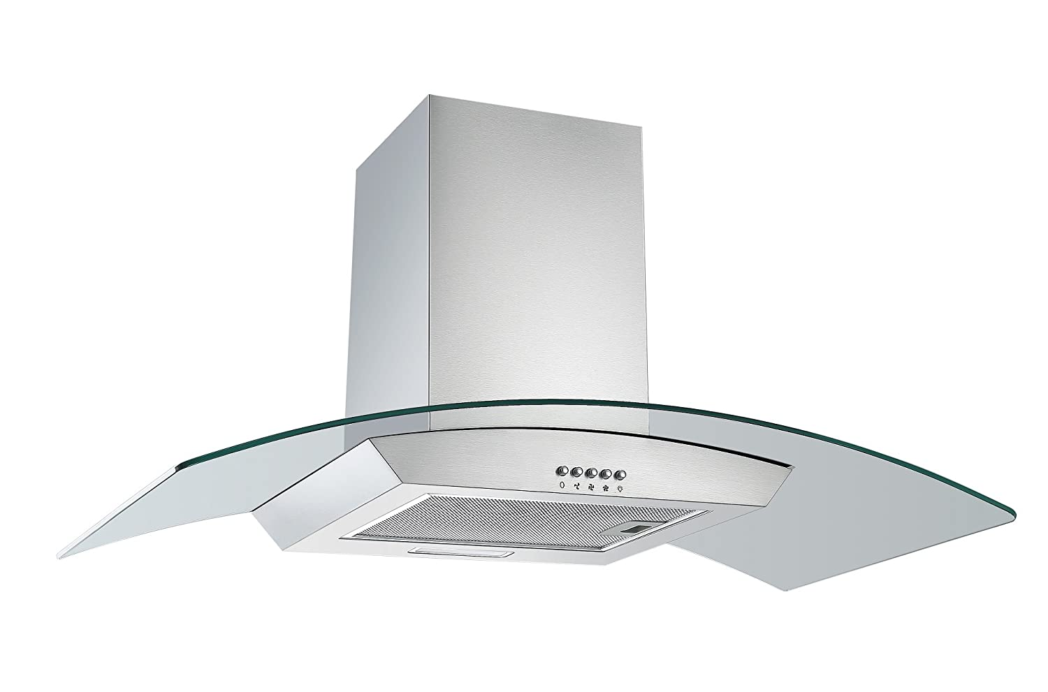 Cookology CGL900SS 90cm Curved Glass Chimney Cooker Hood in Stainless Steel | Wall Mounted Extractor Fan