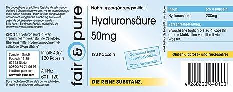 120 cápsulas vegetarianas de ácido hialurónico (50 mg) - Obtenido mediante fermentación - Sustancia pura y sin aditivos: Amazon.es: Salud y cuidado personal