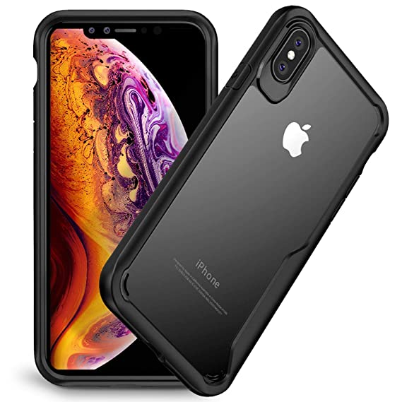 new product ebce6 e6bb0 Olixar iPhone Xs Max Bumper Case - Hard Tough Slim Cover - Clear Back  Design for iPhone Xs Max (2018) 6.5inch - Shock Protection - NovaShield -  Black