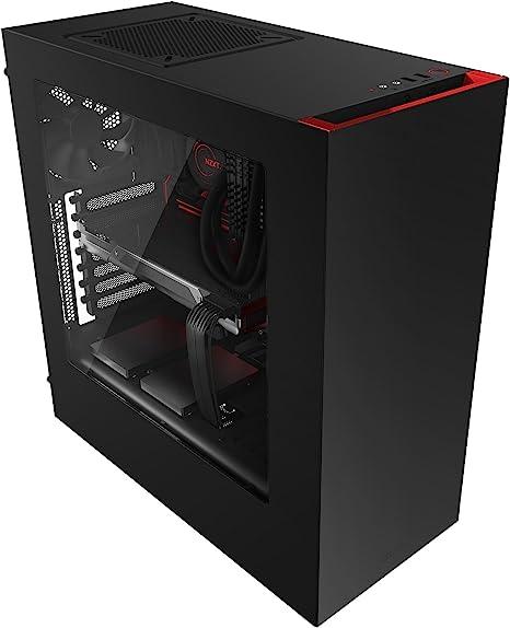 NZXT S340- Caja de Ordenador de Sobremesa (USB, 3.5 mm), rojo ...