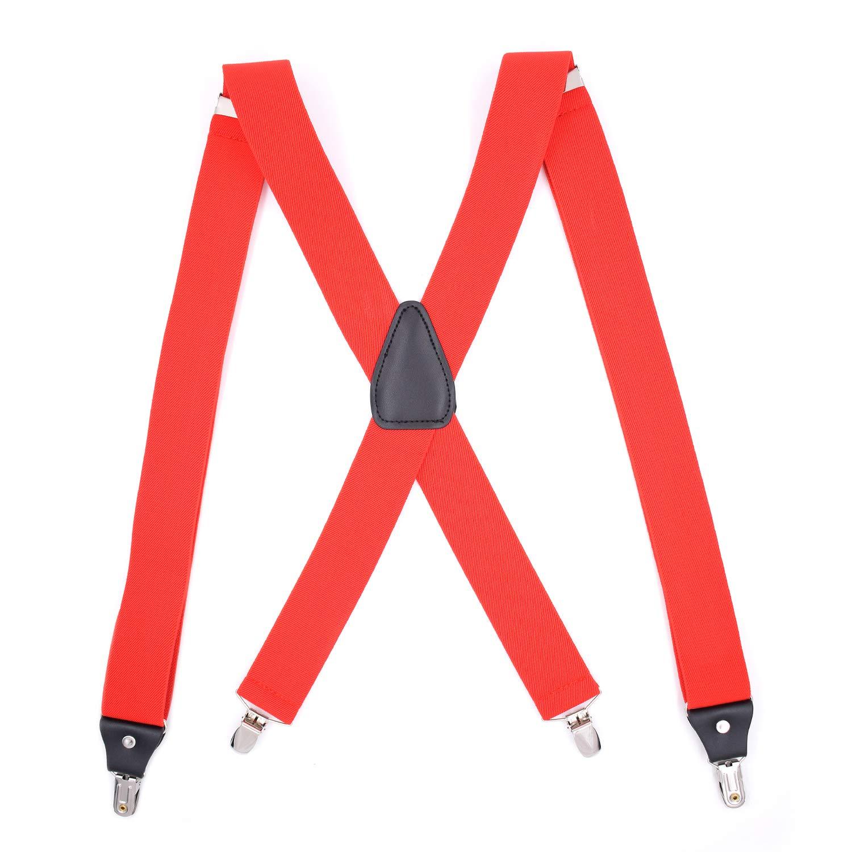 Mens Suspenders Heavy Duty 1.4 Inch Wide X Shape 4 Clips Braces - Camel DMBD-SUS_Camel