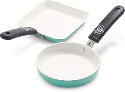 GreenLife Mini Square Grill Pan and Mini Round Egg Pan Set, Turquoise -