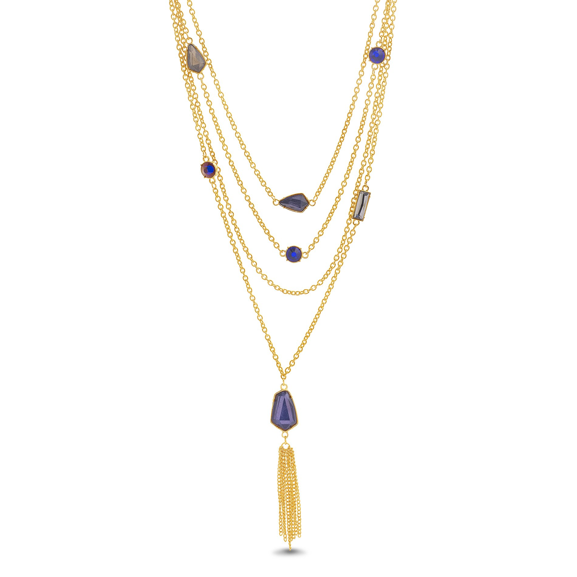 Catherine Malandrino Women's 18-27'' Multi-Colored Station Rolo Chain with Tassel Yellow Gold-Tone Layered Necklace (Purple)