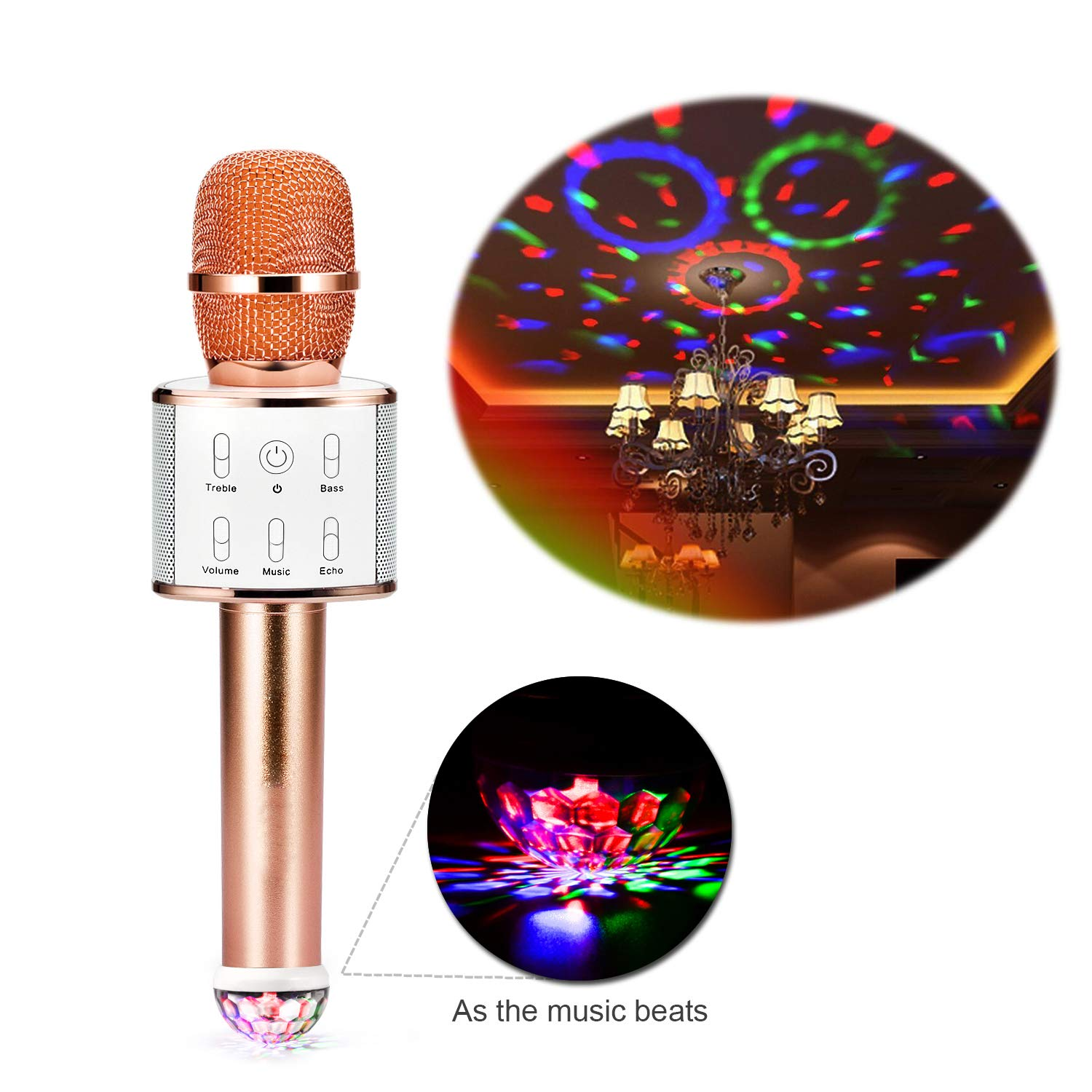 kilokelvin Wireless Microphone Bluetooth, Portable Karaoke mic Speaker with stage lights, Original Sing Mode free to switch (Champagne Gold)