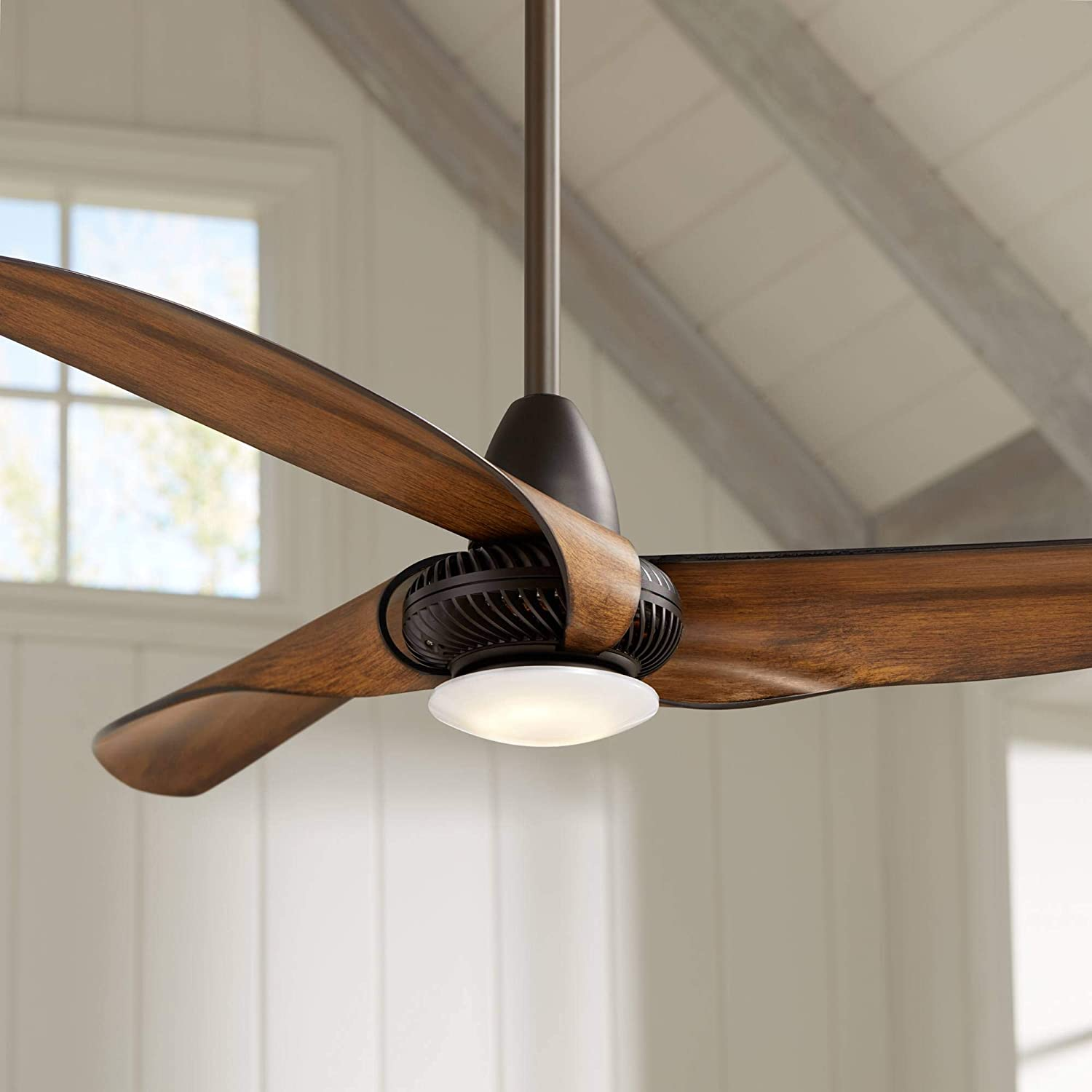 Sleuth Modern Ceiling Fan with Light LED Dimmable Oil Rubbed Bronze Frosted Glass for Bedroom Living Room Kitchen Dining - Casa Vieja
