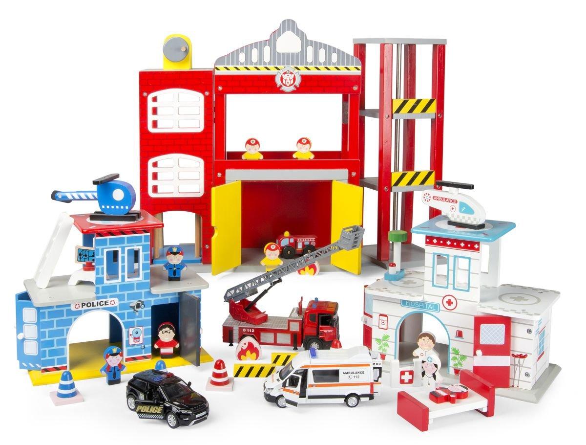 Feuerwehrstation Holz - Leomark Feuerwache aus Holz