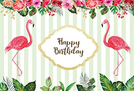 YongFoto 1,5x1m Vinilo Telón de Fondo Cumpleaños Cute Flamingo Rayas Azules y Blancas Flores Fondo para Fotografia Fiesta Niños Boby Retrato Personal ...