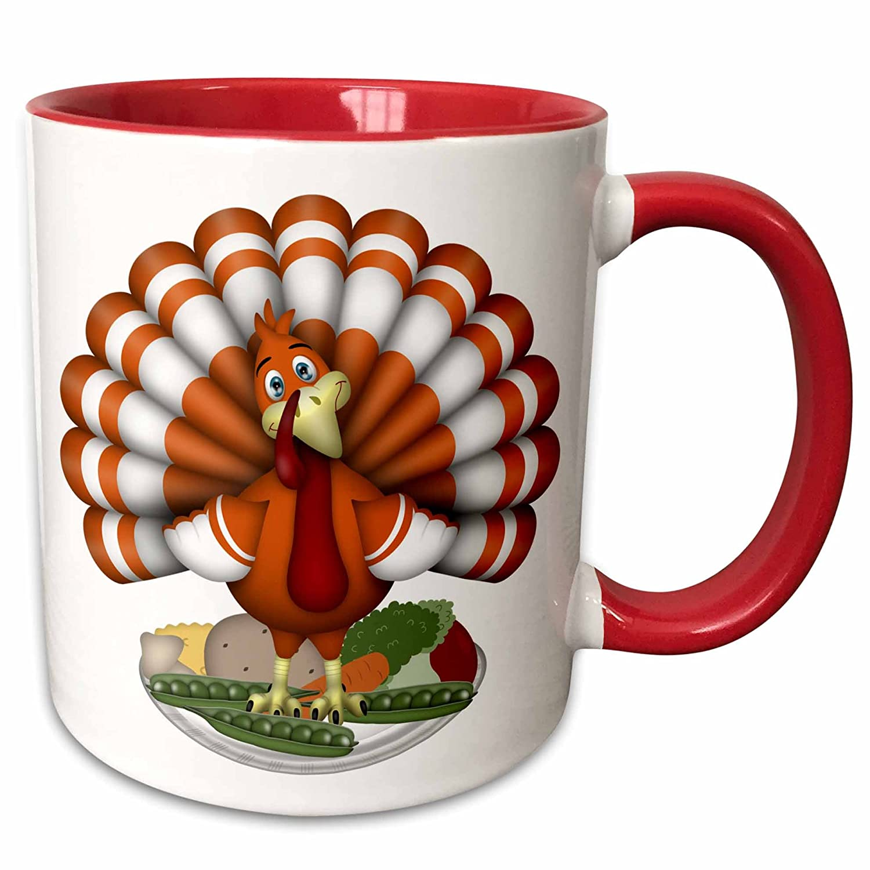 Red//White 11 oz 3dRose 216932/_5 Cute Large Orange Thanksgiving Turkey On Vegetables Ceramic Mug