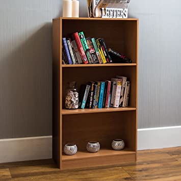 Outstanding Home Cambridge 3 Tier Medium Bookcase Oak Wooden Shelving Display Storage Unit Office Living Room Furniture Home Interior And Landscaping Ologienasavecom