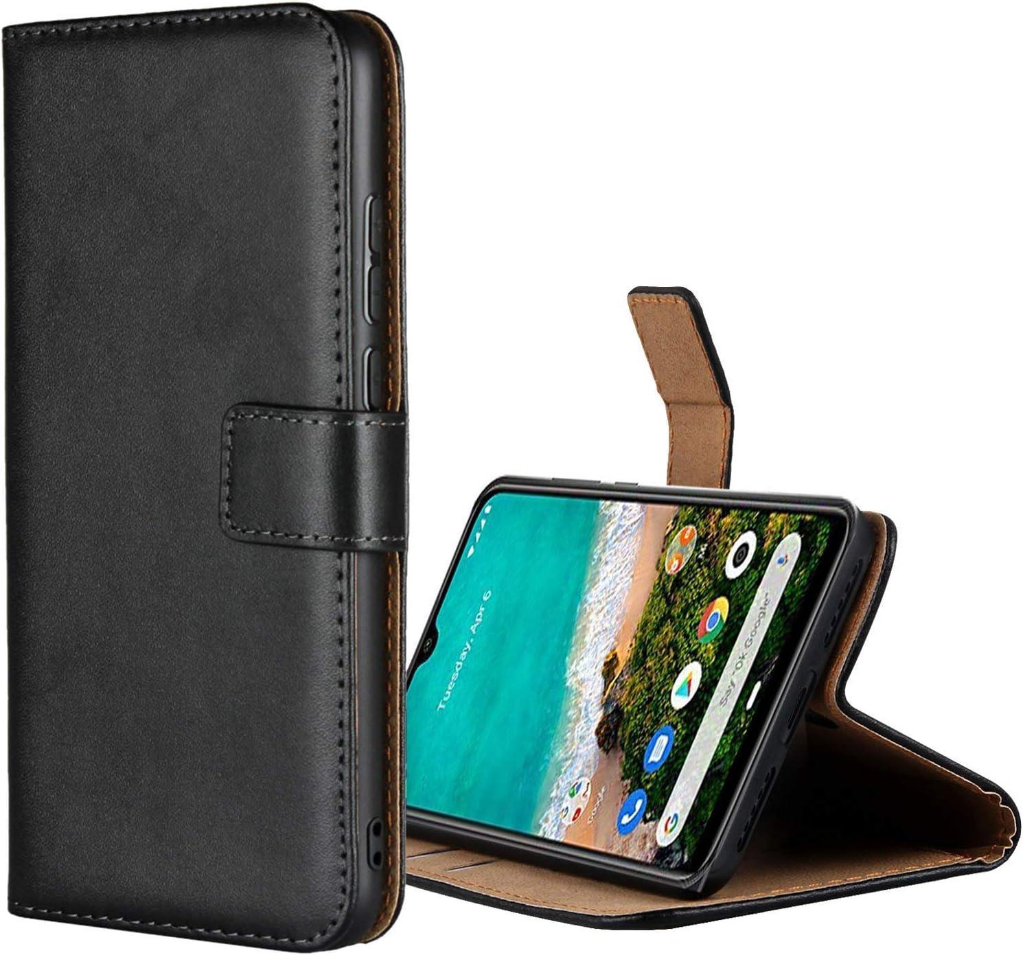 Aopan Xiaomi Mi A3 Funda, Flip Funda de Cuero Genuina Piel Carcasa para Xiaomi Mi A3, Negro