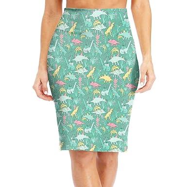 e710822bb9 ZSJRH-M Women's Sexy Slim Mid Skirt Dinosaurs with Garland Gifts Pattern High  Waist Bodycon