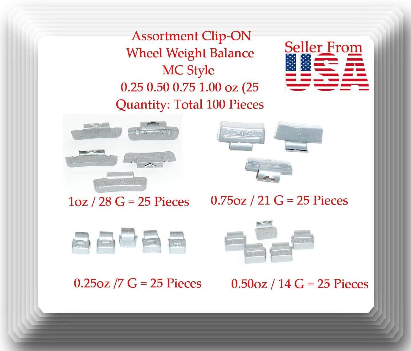 Total100 Pcs Assortment Clip-ON Wheel Weight Balance MC Style 0.25 0.50 0.75 1.00 oz 25 Each VPro by GlobalSourceAMZ