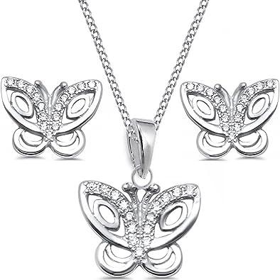 Butterfly Earrings .925 Sterling Silver Pendant Set