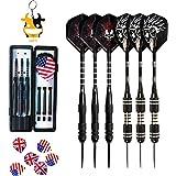 UMsky Steel Tip Darts Set Professional 6 Pcs Steel Tip Darts with Skull Flights, Aluminum Shafts and Brass Barrels 24g
