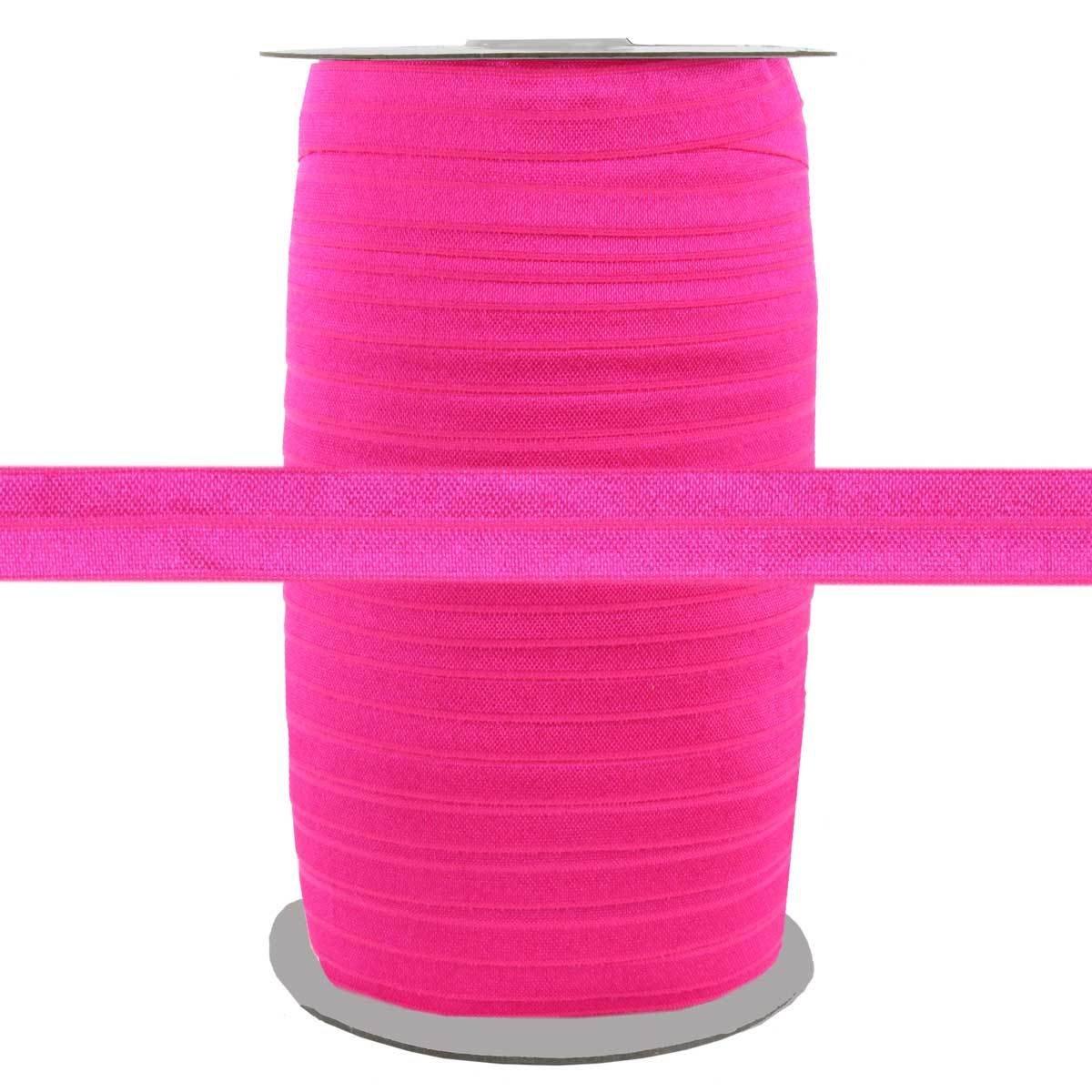 100 Yards - Hot Pink - 5/8'' Fold Over Elastic - ElasticByTheYard by ElasticByTheYard