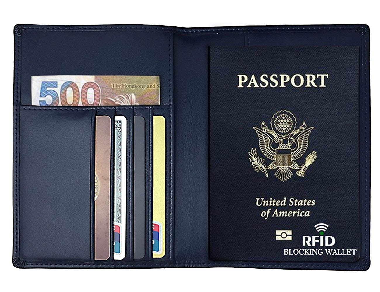 Rfid Blocking Leather Travel Passport Holder Cover Slim Card Wallet