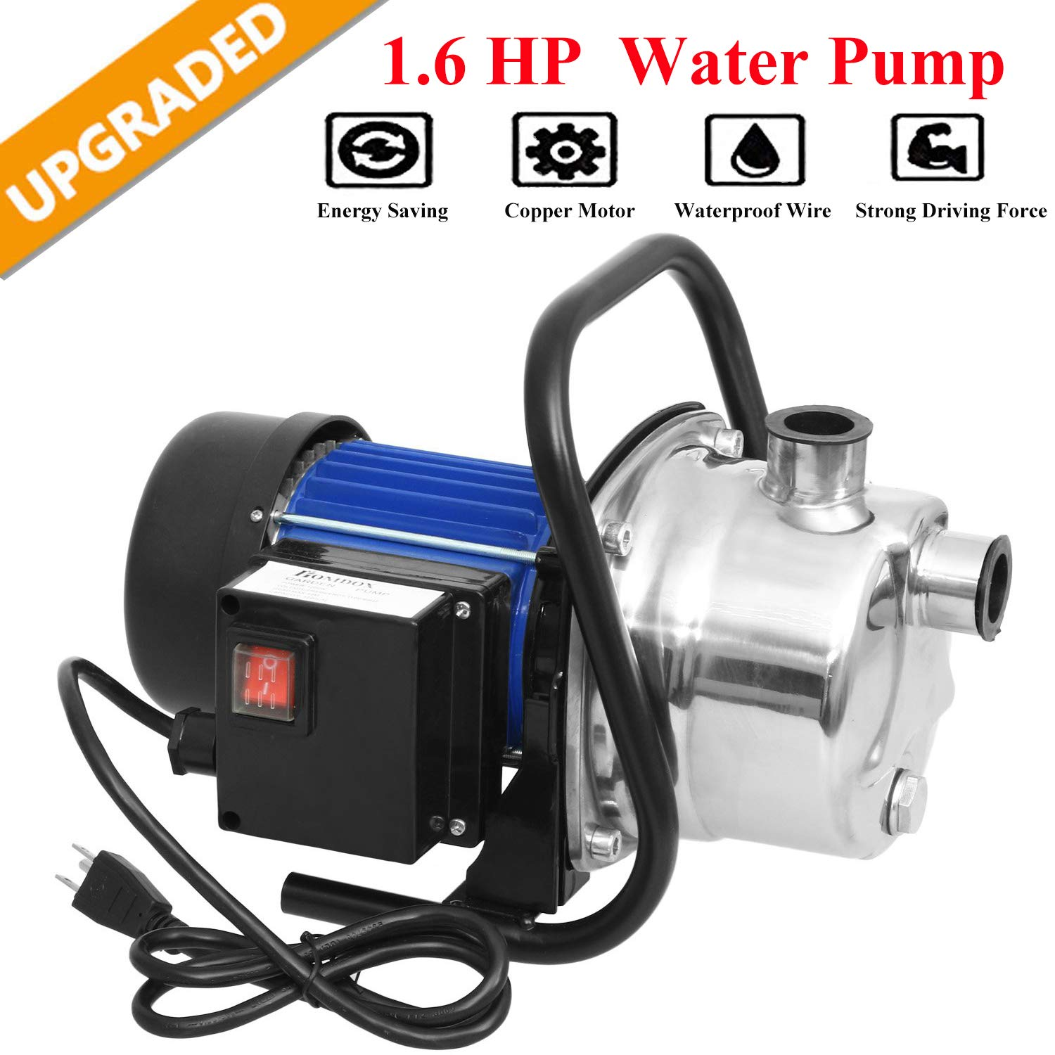 Hurbo 1.6HP Portable Stainless Steel Lawn Sprinkling Pump Water Pump Shallow Well Pump for Garden Irrigation and Pressure Booster